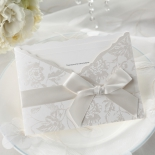 Classic floral pocket invite with silk ribbon and raised bordered insert