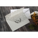 Classic wedding flower patterned three fold ivory invite