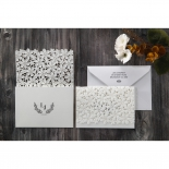 Leave emblem and initials printed on three fold flower inspired ivory invitations