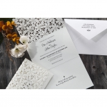 Modern Italic printed invitation wording on three fold floral card
