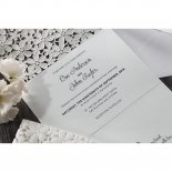 Modern and classic combined wedding text on unfolded floral inspired die cut invitation