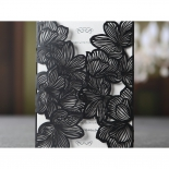 Unopened black laser cut pocket with floral theme and white inner layer