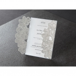 Thermography printed laser cut pocket, opened, wedding card exposed