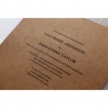 Deep brown invitation card with raised classic lettering