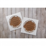 Invites with brown insert and wood themed laser cut pocket