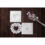 Traditional heart designed white bridal invite card with modern silver foil embossing