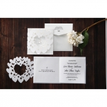 Traditional heart designed laser cut with silver bride and groom graphic accent
