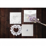 White themed hearts designed bridal card with laser cut details and envelope