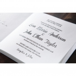 Laser cut hearts designed white wedding invite featuring raised ink lettering in classic black