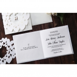 White hearts designed wedding invite unfolded featuring thermography printing