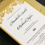 Golden Baroque Pocket Invitation Design