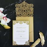 Golden Baroque Pocket with Foil Wedding Invite Card