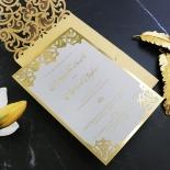 Golden Baroque Pocket with Foil Invite Card Design