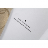 Heart accentuated personalised verse printed on white paper