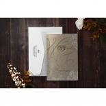 Gold foil golden invite with white envelope