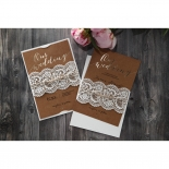 Golden Country Lace With Twine Wedding Invite Card