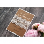 Golden Country Lace With Twine Wedding Invitation