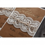Golden Country Lace With Twine Wedding Invite