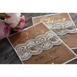 Golden Country Lace With Twine Invite Card