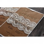 Golden Country Lace With Twine Invite