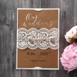 Laser cut lace design with twine wrapped around foiled craft paper inner card
