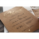 Golden Country Lace With Twine Invitation Card Design