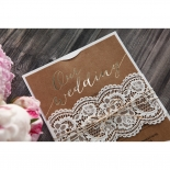 Golden Country Lace With Twine Wedding Card