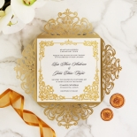 Golden Divine Damask Invite Card Design
