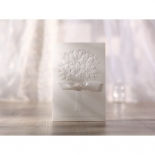 Bouquet patterned embossing on traditional floral invitation