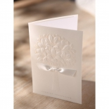 Classical wedding card featuring sash and raised bouquet design