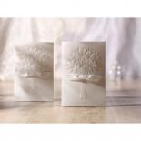 Bouquet embossed ivory bridal invites