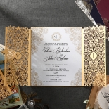 Classic pearl invite with golden borders covered in a luxurious golden pocket