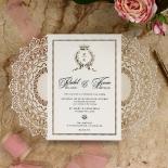 Ivory Doily Elegance with Foil Wedding Card Design