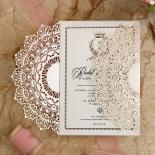 Ivory Doily Elegance with Foil Wedding Invite Card Design
