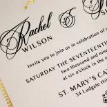 Ivory Doily Elegance with Foil Wedding Invite Design