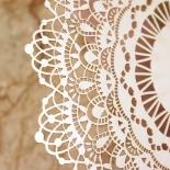 Ivory Doily Elegance with Foil Wedding Invitation Design