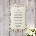Vintage themed laser cut frame with pearl cream inner card
