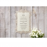 Ivory Victorian Charm Wedding Invite Card Design