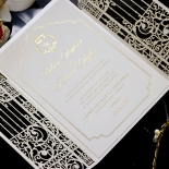 Ivory Victorian Gates with Foil Wedding Card Design