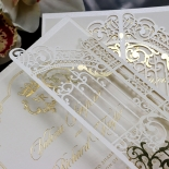 Ivory Victorian Gates with Foil Wedding Invite Card Design