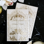 Ivory Victorian Gates with Foil Wedding Invitation Design