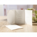 Three fold die cut and white vintage inspired invitation with foiling