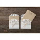 Two lace themed brown and white invite with burlap ribbon.