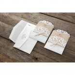 Rustic brown and white invitations beside printed white invitations