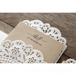 Embossed printed brown paper in lace themed pocket