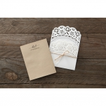 Rustic lace inspired brown and white invite with string