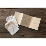 Two rustic invitations with lace themed white pocket, one unfolded brown insert.