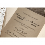 Brown wedding invitation card with thermography printed modern fonts