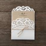 Burlap wrapped rustic invitation with brown inner layer