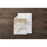 Country style white invite with matching envelope
